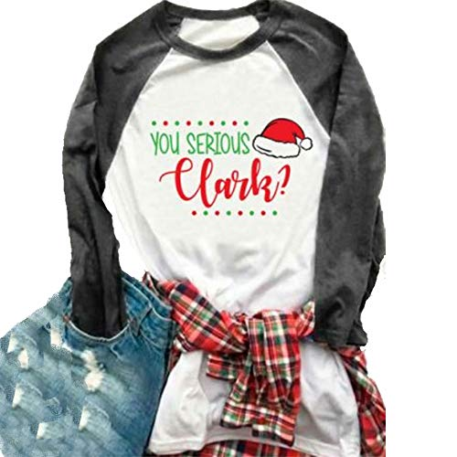 Christmas You Serious Clark Baseball T Shirt Womens 3/4 Sleeve Letters Print O-Neck Casual Tees Size XXL (Grey)