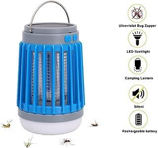 Energía Solar lámpara de Asesino del Mosquito al Aire Libre Portátil Lámpara Antimosquitos Electrico Exterior Noche Lámpara LED Linterna de Camping Lámpara Mosquitos(Azul)