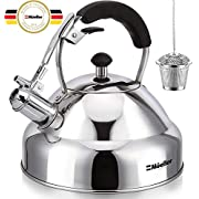 Stove Top Whistling Tea Kettle - Only Culinary Grade Stainless Steel Teapot with Cool Touch Ergonomic Handle and Straight Pour Spout - Tea Maker Infuser Strainer Included