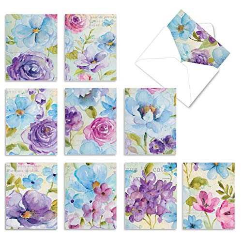 The Best Card Company - 10 Blank Flower Cards Boxed (4 x 5.12 Inch) - Assorted Floral Notecard Set - Cool Blossoms M1708BN