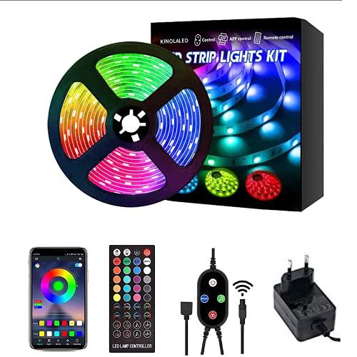 KINOLA 5M Bluetooth Tiras LED Musical ,5050 RGBTiras de Luces LED Iluminación con 12V 300 LEDS, Función Musical,Control de APP y de Control Remoto, Adaptador,para el hogar, armario, techo, bar