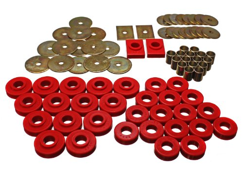 Energy Suspension 34120R Body Bushings - Energy Suspension Body Mount Bushings Body Mount Bushings - Polyurethane - Red - Chevy - Belair - One-Fifty - Two-Ten Series - Set of 32
