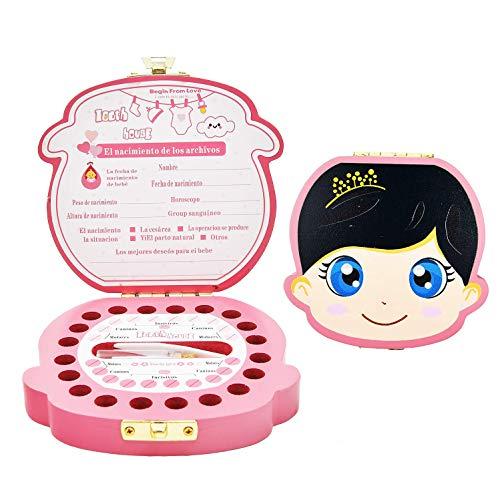 Caja de Dientes,Caja Dientes Leche, Caja para Guardar Dientes para Pegatinas españolas, Personalizar Bebé Dientes Caja (Niña)