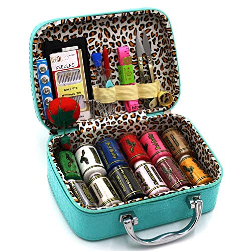 BILIEASY Kit de costura 51 piezas Mini Kit de costura Kits de costura para adultos Viaje Coser Set (Azul)