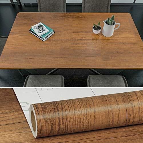 VEELIKE 15.7''x236'' Brown Wood Wallpaper Wood Grain Contact Paper Peel and Stick Self Adhesive Waterproof Removable for Cabinet Kitchen Old Dresser Shelves Desk Bookcase Furniture Oak Wood Look