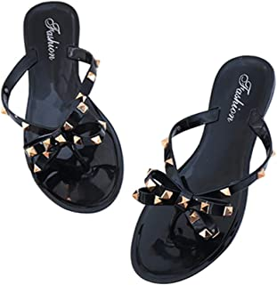9cea68a4183e Womens Bow Flip Flop Sandals Studded Jelly Shoes Summer Beach Thong Slippers