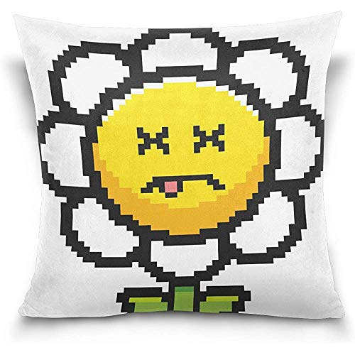 Not applicable Doppelseitige Cartoon Pixel Sonnenblume lustige Baumwolle Samt Quadrat Kissenbezüge 18 x 18 Zoll dekorativ für Stuhl Auto Sitz