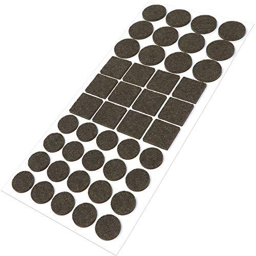 Adsamm | 44 x almohadillas de fieltro | marrón | diferentes tamaños | Ø 28 mm | Ø 20 mm | 25x25 mm | Protectores de suelo para patas de mueble | auto-adhesivos | con grosor de 3,5 mm de la máxima calidad