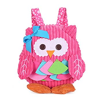 Rejolly Toddler Backpack for Baby Girls Boys Cute 3D Owl Mini Plush Bag Animal Cartoon Preschool Bookbag for Kids 2-5 Years Pink
