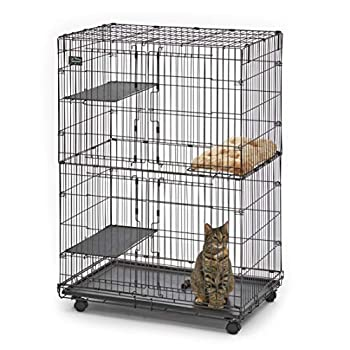 MidWest Cat Playpen / Cat Cage Includes 3 Adjustable Resting Platforms Removable Leak-Proof Pan Easy 2-Door Top / Bottom Access & 4-locking Wheel Casters