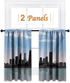 Chicago Skyline, Kids Room Artwork 2 Panels Set, Day Time Illinois Missisippi River Clouds Coastal Town Urban Design, Drapes and Valance Set, W72 x L63 Inch Onyx Blue Grey
