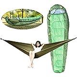 Saco de Dormir Ligero Set de Saco de Dormir al Aire Libre Camping Muti-Funcional sobre Desmontable sobre Hamaca con Capucha Dormir Bolsa Perezosa para Acampar Viajar (Color : Army Green)
