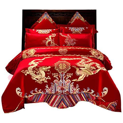 Chinesische rote traditionelle rote Bettwäsche asiatische Bettwäsche Drache, Phönix und Vogelstickerei Steppdecke 4-teiliges Set