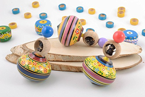 For Sale! Handmade Painted Wooden Toys Set 3 Pieces Spinning Tops with Rings and Strings