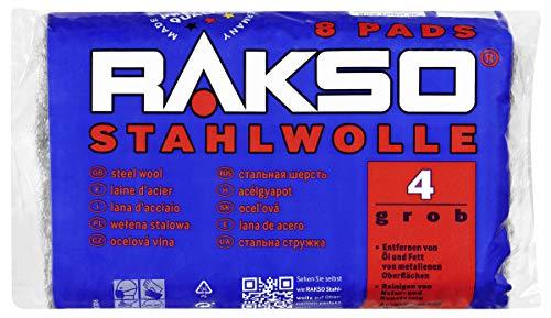 RAKSO Stahlwolle grob 4 entfernt Öl, Fett auf Metall, reinigt Natur, Kunststein, Anschleifen von altem Holz, 8 Pads 200g