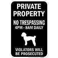 PRIVATE PROPERTY ブラックマグネットサイン:トイプードル シルエット 英語 私有地 無断立入禁止