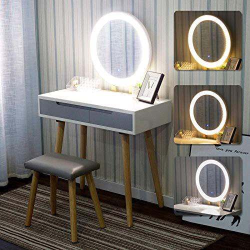 YOURLITE YOURITE Schminktisch mit LED-Lichtern Spiegel – Weiß Schminktisch Set mit Verstellbarer Helligkeit Spiegel, gepolsterter Hocker und gratis Make-up-Organizer