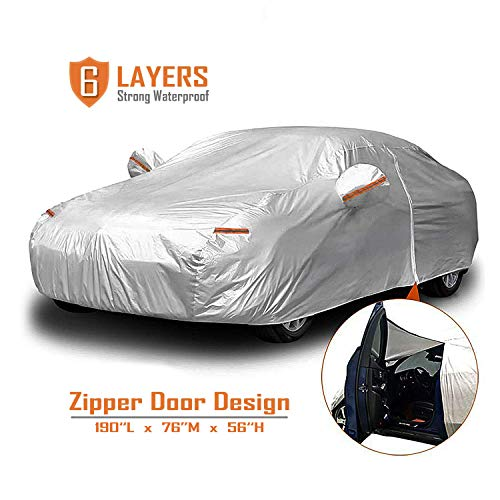 "CARBABA Car Cover, Universal Full Car Covers with Zipper Door, 6 Layers All Weather Protection Waterproof/Windproof/Scratch Resistant/Reflective Strips for Sedan Wagon Use (186"" - 190"")"