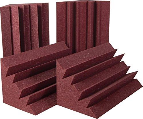"""Auralex Acoustics LENRD Acoustic Absorption Bass Traps, 24"""" x 12"""" x 12"""",4 Pack, Burgundy"""