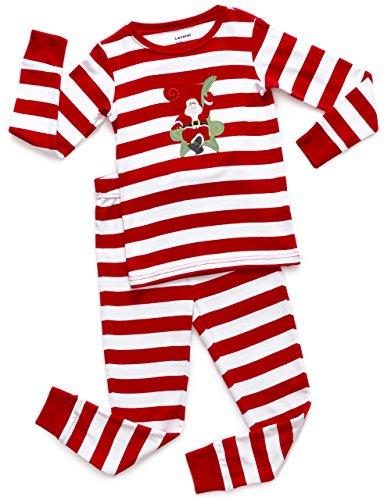 Leveret Kids Christmas Pajamas Boys Girls & Toddler Pajamas 2 Piece Pjs Set 100% Cotton (3 Years, Santa Red/White)