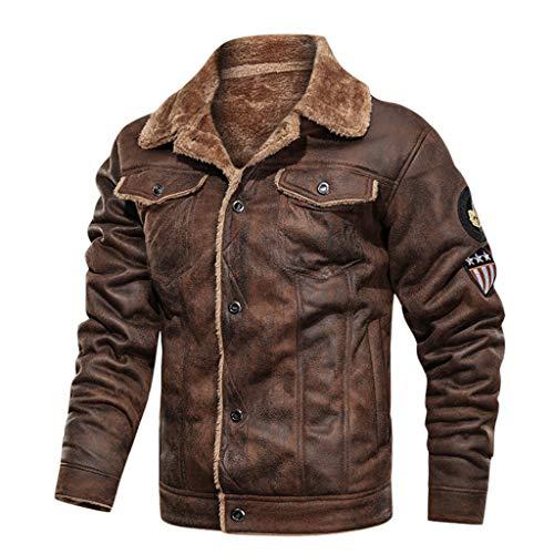 KPPONG Veste en Cuir Homme Suède Hiver Vintage Doublée Polaire Chaud Moto Motard Casual Manteau Perfecto Militaire Jacket Outwear