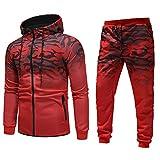 MOIKA Hommes 2 Pièces Survêtement Ensemble de Sport Camouflage Imprimé Sweat-Shirt à Capuche Pantalon Fitness...