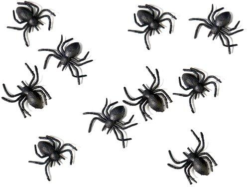 Plastik Spinnen schwarz, 3x3 cm, 10 Stück - Halloween Dekoration