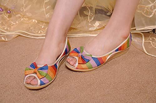 Lihcao Mit flachen Absätzen Sehne Sohlen weich und bequem lässige Sandalen Boho Bestickt Schuhe gestreift (Color : Rainbow bar, Size : 8)