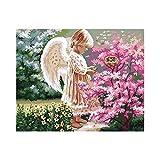 TGHYB Pintura Digital De Bricolaje,Angel Girl and Flowers16 X 20 Pulgadas Canvas Arts Craft Painting para Niños Estudiantes Adultos Principiantes con Pinceles Y Pigmento Acrílico, Marco De Bricolaje