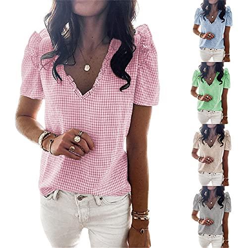 Manga Corta Mujer T-Shirts Dulce Moda Verano Cuello V Mujer Blusa Exquisito Pequeños A Cuadros Volantes Diseño Diario Casual Cómodo Transpirable All-Match Mujer Tops A-Pink M