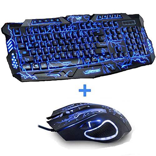 Tri-Color Backlight Computer Gaming Keyboard USB Bedraad Volledige N-Key Game Toetsenbord voor PC Desktop Laptop Russische Sticker (Kleur : toetsenbord en muizen)