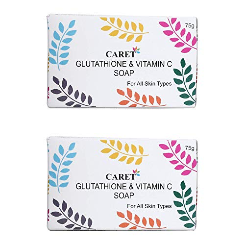 Caret Organic Glutathione & Vitamin C Skin Whitening Soap For Dark Spot and Dead Skin Cell Removal, Tested Paraben Free For All Skin Types (75 gm) (Pack of 2)