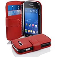 Cadorabo Samsung Galaxy Trend Lite Funda de Cuero Sintético Estructura en Rojo Infierno Cubierta Protectora Estilo Libro con Cierre Magnético, Tarjetero y Función de Suporte Etui Case Cover Carcasa