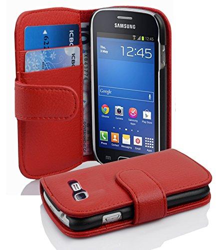 Cadorabo Custodia Libro per Samsung Galaxy Trend Lite in Rosso Cremisi - con Vani di Carte e Funzione Stand di Similpelle Strutturata - Portafoglio Cover Case Wallet Book Etui Protezione