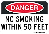 NO Smoking Within 50 FEET Sign. Easy to Read 7'x 10' Commercial Aluminum. Never rusts or Fades. Clearly Lets Everyone Know That Smoking is not Allowed. Do Not Smoke Here. Installs Anywhere