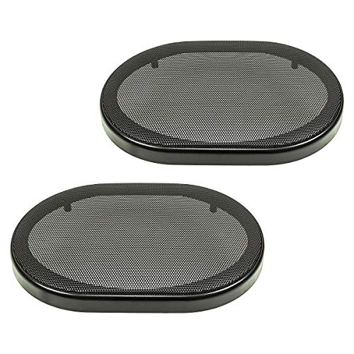 tomzz Audio 2800-004 Lautsprecher Gitter Grill für 6x9 Zoll Lautsprecher, schwarz, 2-teilig Kunststoffring mit Metallgitter, Satz