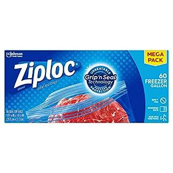 Ziploc Freezer Bags Easy Open Tabs Gallon 60 Count