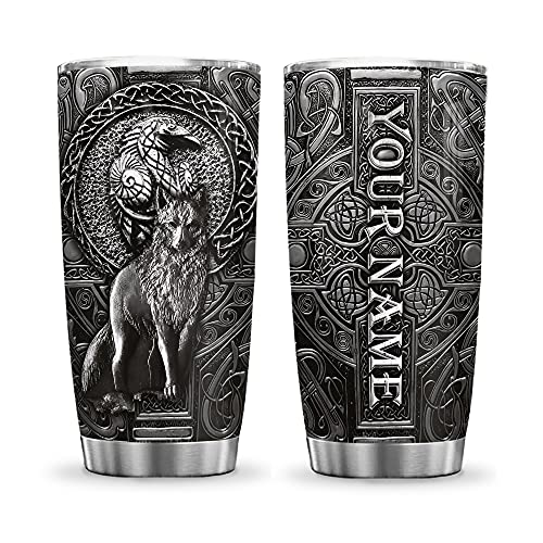 64HYDRO 20oz Printed Personalized Customized Name Wolf and Raven Viking Celtic Tumbler Cup with Lid, Double Wall Vacuum Thermos Insulated Travel Coffee Mug - KHM0212012