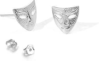 Veerady 990 Sterling Silver Fashion Earrings Drama Mask Shape Earrings Drop Earrings Silver Jewelry Men And Women Holiday ...