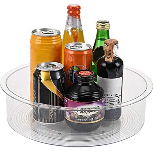 Lazy Turntable - Soporte giratorio para especias para cocina y despensa, para aceite de comida, botellas, latas y tarros, transparente