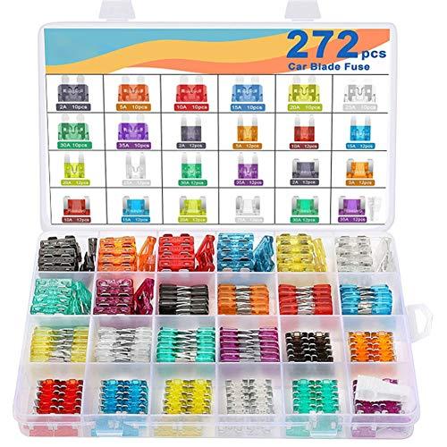 272 piezas de repuesto para coche, juego de hoja para automóvil, kit mini fusibles automático, caja de repuesto para barco de maletero