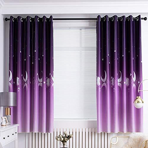 LIZHOUMIL Verdunklungsvorhänge, 2 Stück, kurz, für Küche, Büro, Wohnheim, Raumdekoration (100 x 200 cm), Violett