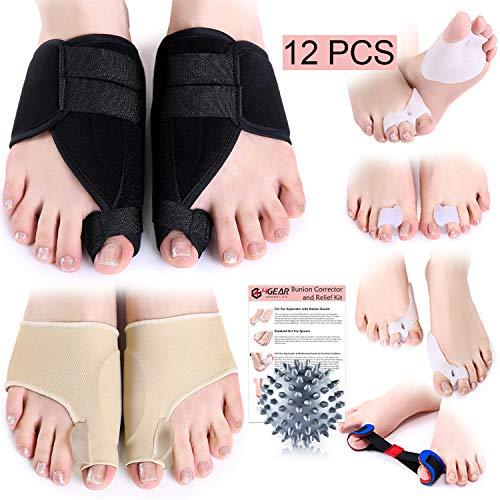 Bunion Corrector & Relief Kit-12 PCs-Adjustable Bunion Splints, Bunion Protective Sleeves, Toe Separators, Exercise Strap & Spiky Massage Ball-Pain Relief in Hallux Valgus, Hammer Toe & Tailor Bunion