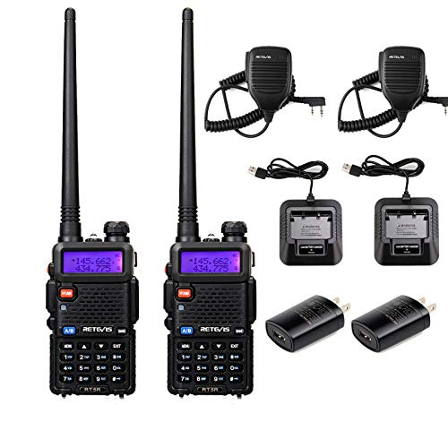Retevis RT-5R Ham Radio Handheld, Dual Band Two Way Radio, Long Range Walkie Talkies 128CH 155 Privacy Codes Scan VOX Police Radios with Mic (2 Pack)