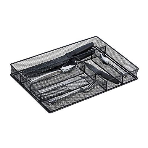 Relaxdays Besteckkasten, Schubladeneinsatz mit 6 Fächern, für Küchenbesteck, Mesh-Design, HxBxT 5,5x28x40,5 cm, schwarz