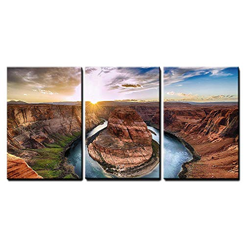 "wall26 - 3 Piece Canvas Wall Art - Sunset Moment at Horseshoe Bend, Colorado River, Grand Canyon National Park, Arizona Usa - Modern Home Decor Stretched and Framed Ready to Hang - 16""x24""x3 Panels"