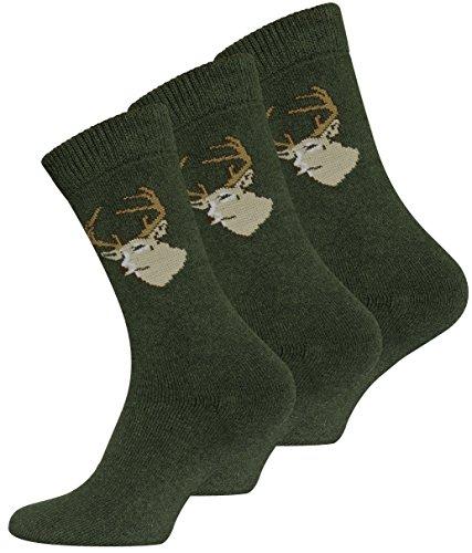 VCA 3 oder 6 Paar JÄGER Socken Frottee (39-42, 3 Paar Grün)