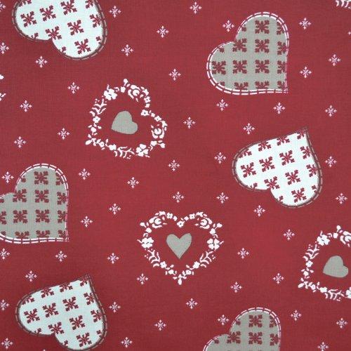 Textiles français Weihnachtsstoff | Herzen und Schneeflocken | 100% Baumwolle | Stoffbreite: 160cm Meterware (1 Meter)