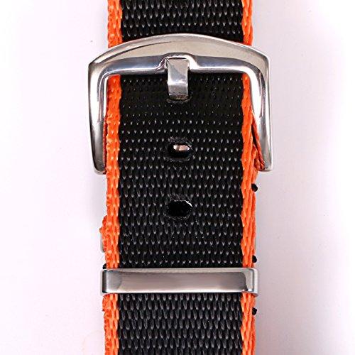PBCODE Watch Straps Replacement Watch Band 18mm Seat Belt Nylon NATO Straps Black/Orange Stitching