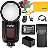 Godox V1-N 76Ws 2.4G TTL On-Camera Round Head Camera Flash Speedlight Compatible for Nikon Camera,1/8000 HSS, 480 Full Power Shots, 1.5 sec. Recycle Time,Rechargeable 2600mAh Li-ion Battery